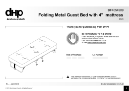"Folding Metal Guest Bed with 4"" mattress"
