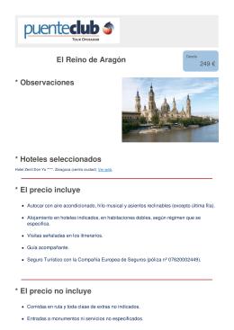 El Reino de Aragón * Observaciones * Hoteles