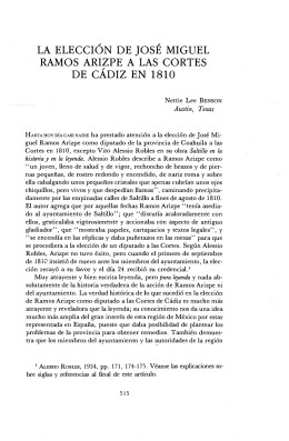 la elección de josé miguel ramos arizpe a las cortes de cadiz en 1810