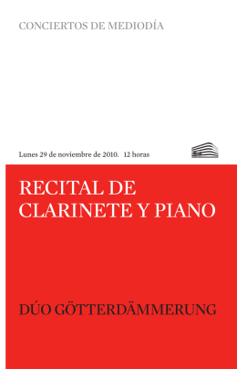 RECITAL DE CLARINETE Y PIANO