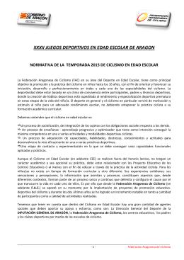 Reglamento XXVIII Juegos Deportivos en Edad Escolar de Aragon