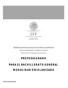 Profesiograma - DGB - Secretaría de Educación Pública