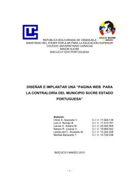 pagina web para la contraloría del municipio sucre estado portuguesa
