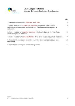 CT3: Lengua castellana Manual del procedimientos de