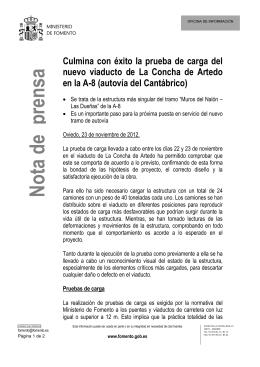 Nota de prensa - Ministerio de Fomento
