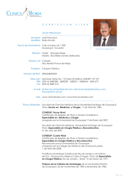 Dr. José Francisco Borja Zavala - Universidad de Especialidades