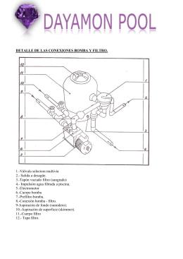 detalle de las conexiones bomba y filtro.