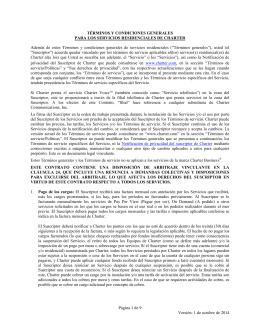 1 de octubre de 2014 TÉRMINOS Y CONDICIONES GENERALES