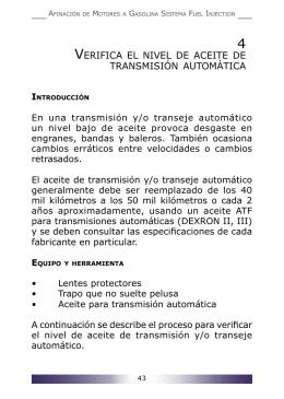 Verifica el nivel de aceite de transmisión automática
