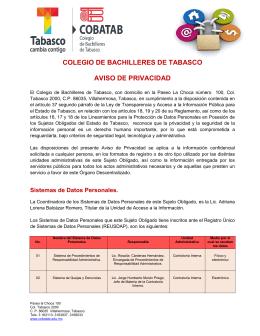 COLEGIO DE BACHILLERES DE TABASCO AVISO DE PRIVACIDAD