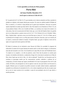 Carta apostólica Porta Fidei