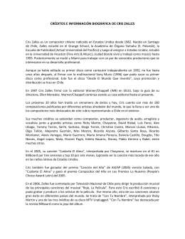 CRÉDITOS E INFORMACIÓN BIOGRÁFICA DE CRIS ZALLES
