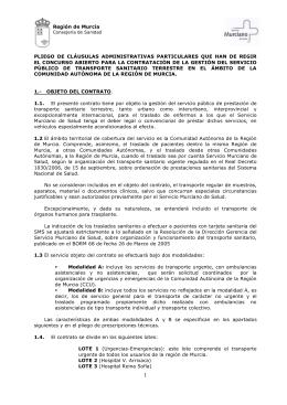 Región de Murcia PLIEGO DE CLÁUSULAS ADMINISTRATIVAS