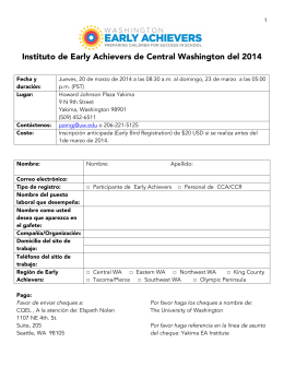 Instituto de Early Achievers de Central Washington del 2014