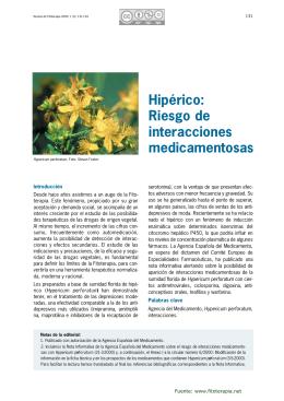 Hipérico: Riesgo de interacciones medicamentosas