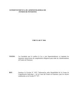 Circular N° 1046 - Superintendencia de Pensiones