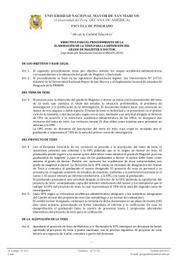 directiva para el procedimiento de la elaboración de la tesis para la