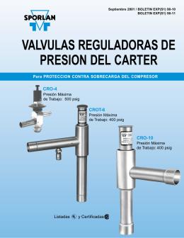 VALVULAS REGULADORAS DE PRESION DEL CARTER