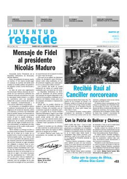 Mensaje de Fidel al presidente Nicolás Maduro