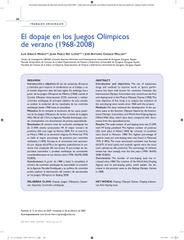 El dopaje en los Juegos Olímpicos de verano (1968-2008)