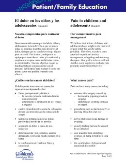 El dolor en los niños y los adolescentes (Spanish) Pain in children
