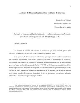 Acciones de filiación: legitimación y conflictos de intereses*