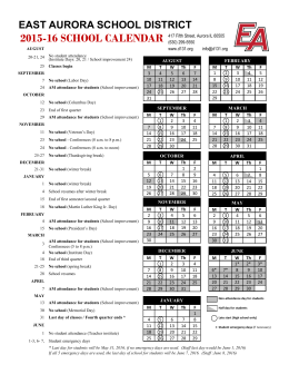 2015-16 SCHOOL CALENDAR - East Aurora School District #131