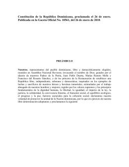 Constitución de la República Dominicana, proclamada el 26 de