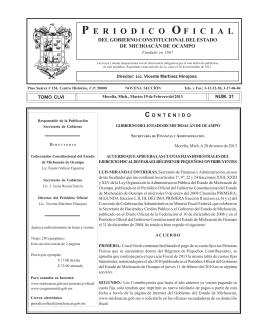 P E R I O D I C O O F I C I A L - Congreso del Estado de Michoacán