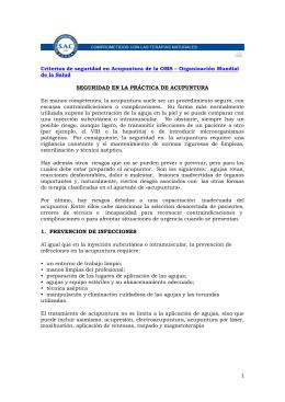 1 Criterios de seguridad en Acupuntura de la OMS – Organización