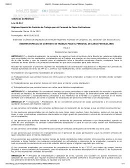 SERVICIO DOMESTICO Ley 26.844 Régimen Especial de Contrato