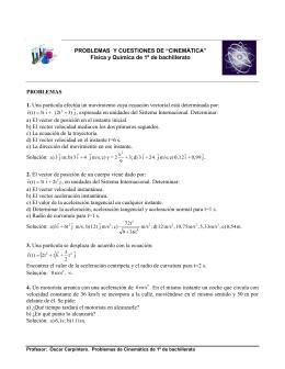 """PROBLEMAS Y CUESTIONES DE """"CINEMÁTICA"""" Física y Química"""