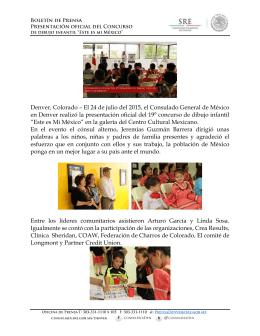 Denver, Colorado – El 24 de julio del 2015, el Consulado General
