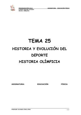 Tema 25. Historia del deporte y del Olimpísmo