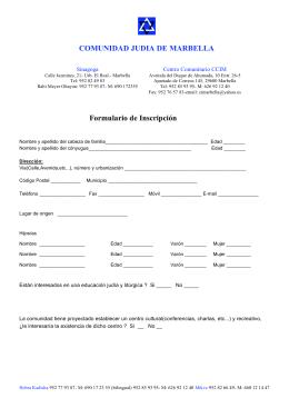 Formulario de inscripción. - Comunidad Judía de Marbella