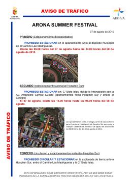 Aviso Cortes de Tráfico: Arona Summer Festival 2015 [pdf 519.3 KB]