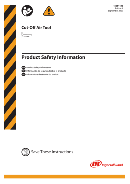 product Safety Information Manual, Cut-Off Air Tool