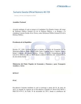 Sumario Gaceta Oficial Número 40.729 - Microjuris