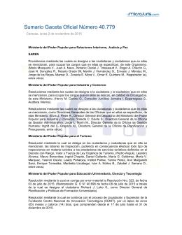 Sumario Gaceta Oficial Número 40.779