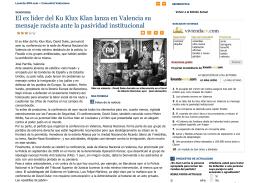 El ex líder del Ku Klux Klan lanza en Valencia