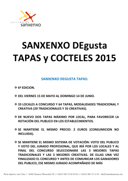 INFORMACIÓN SANXENXO DEgusta TAPAS y COCTELES 2015