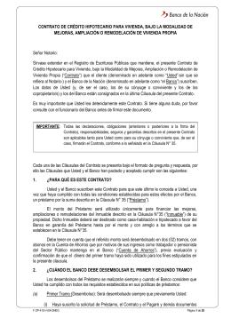 Contrato de Crédito Hipotecaria Mejoras de Vivienda.