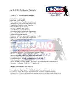 La Carta del Bar Cinzano Valparaíso