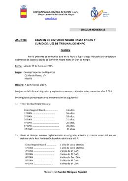 examen de cinturon negro hasta 6º dan y curso de juez de tribunal