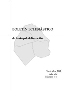 BOLETÍN ECLESIÁSTICO - Arzobispado de Buenos Aires