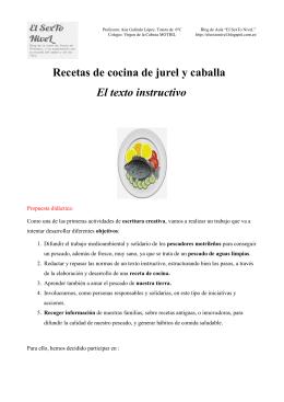 Unidad didáctica del concurso de recetas elaborada por la profesora