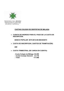 cuotas colegio de dentistas de malaga • cuenta de ingreso para el