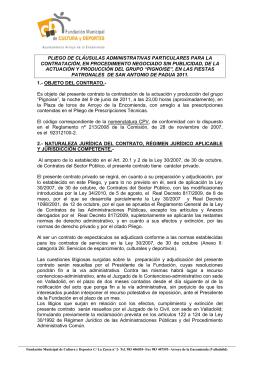 Pliego de Cláusulas Administrativas y de prescripciones Técnicas