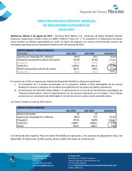 Reporte de Prensa FIBRA INN ANUNCIA REPORTE MENSUAL DE