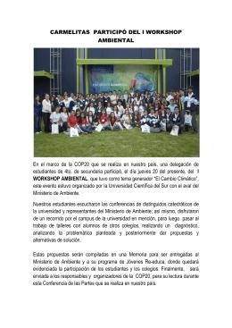 CARMELITAS PARTICIPÓ DEL I WORKSHOP AMBIENTAL En el